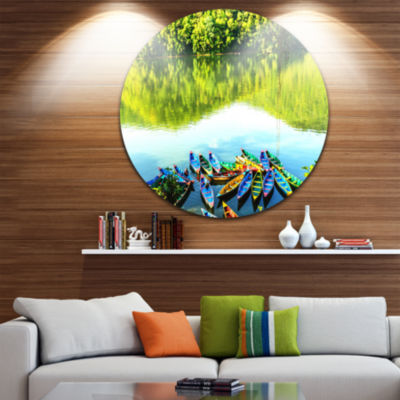 Design Art Boats in the Lake Pokhara Nepal Boat Round Circle Metal Wall Art