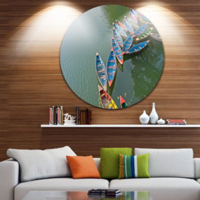 Design Art Phewa Lake in Pokhara Nepal Boat RoundCircle Metal Wall Art
