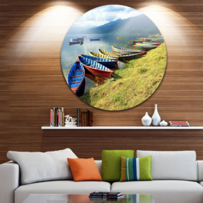 Design Art Color Boats in Phewa Lake Boat Round Circle Metal Wall Art