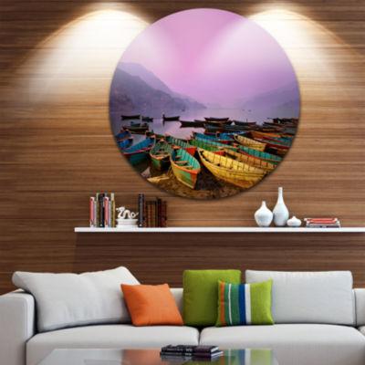 Design Art Boats under Twilight Sky in Phewa BoatRound Circle Metal Wall Art