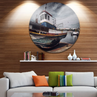 Design Art Old Fishing Boat Boat Round Circle Metal Wall Art
