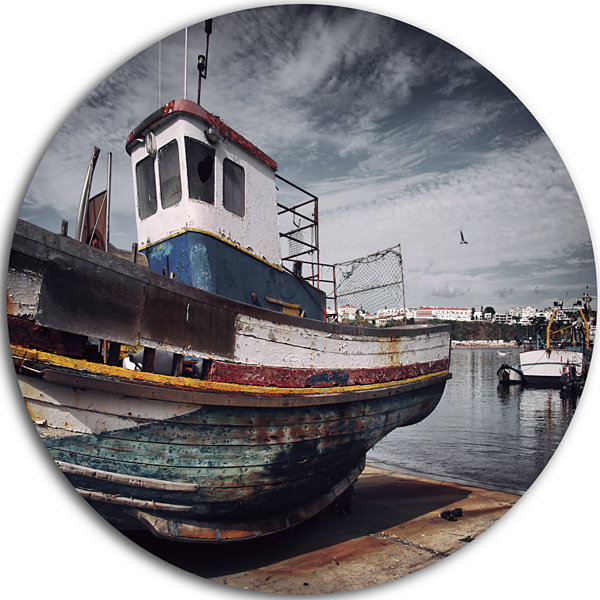 Design art old fishing boat boat round circle metal wall for Circle fishing boat