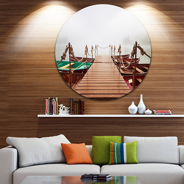 Design Art Boats in Mysterious Fog Boat Round Circle Metal Wall Art