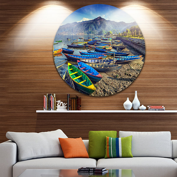 Design Art Colorful Boats in Pokhara Lake Boat Round Circle Metal Wall Art