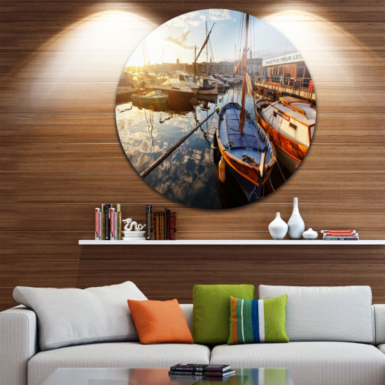 Design Art Yachts at Sea Port of Marseille Boat Round Circle Metal Wall Art