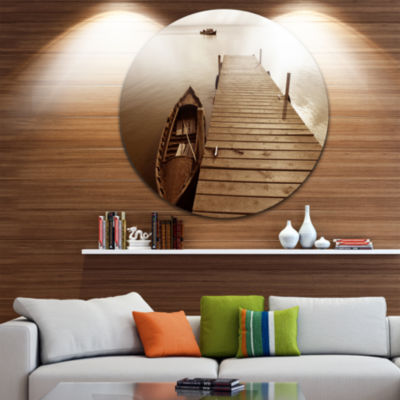 Design Art Albufera Lake Wetlands Pier Boat RoundCircle Metal Wall Art