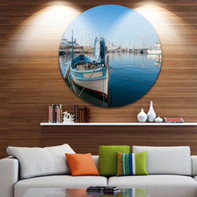 Design Art Yachts in Toulon Port France Boat RoundCircle Metal Wall Art