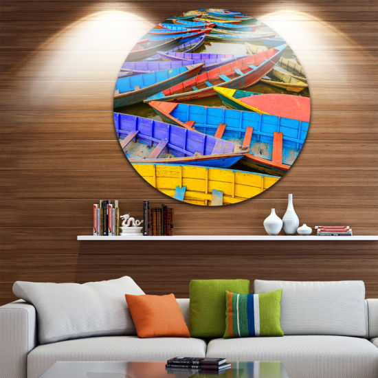 Design Art Old Colorful Sailboats in Lake Boat Round Circle Metal Wall Art