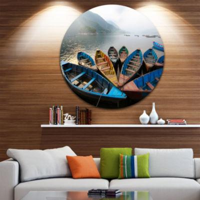 Design Art Beautiful Boats in Phewa Lake Boat Round Circle Metal Wall Art