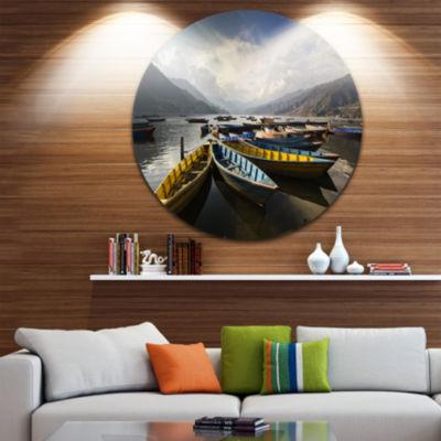 Design Art Pokhara Lakeside Boats Boat Round Circle Metal Wall Art