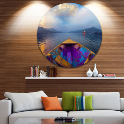 Design Art Boat in Himalaya Mountains Lake Boat Round Circle Metal Wall Art