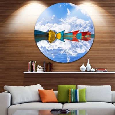 Design Art Moving Colorful Boats in Lake Boat Round Circle Metal Wall Art