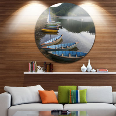 Design Art Wonderful View of Pokhara Boats Boat Round Circle Metal Wall Art
