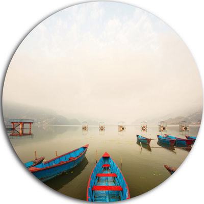Design Art Moving Boats in Mountain Lake Boat Round Circle Metal Wall Art