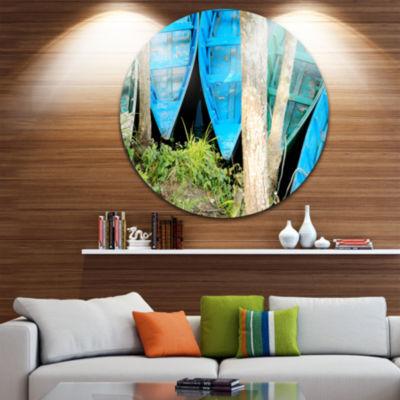 Design Art Blue Boats on Lake Phewa Boat Round Circle Metal Wall Art