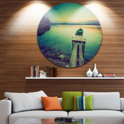 Design Art Pier and Boat in Vintage Lake Boat Round Circle Metal Wall Art