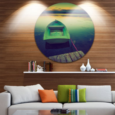 Design Art Boat and Wooden Pier in Lake Boat RoundCircle Metal Wall Art