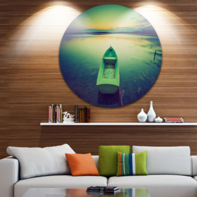 Design Art Boat at Sunset in Vintage Lake Boat Round Circle Metal Wall Art