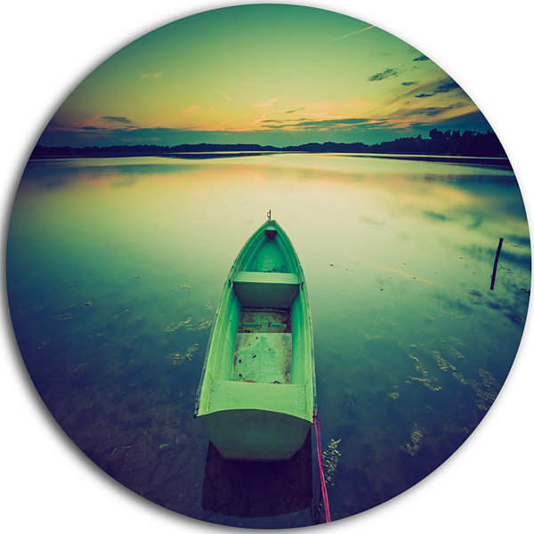 Design Art Boat at Sunset in Vintage Lake Boat Round Circle Metal Wall Art