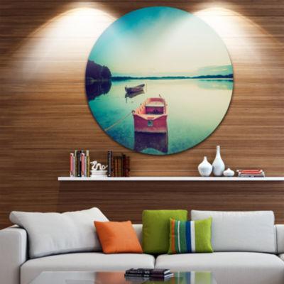 Design Art Pink Boat in Vintage Lake Boat Round Circle Metal Wall Art