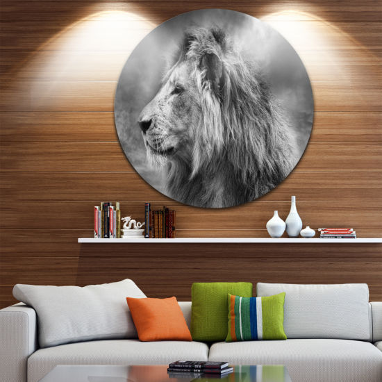 Design Art Grey Wild African Lion Animal Round Circle Metal Wall Art