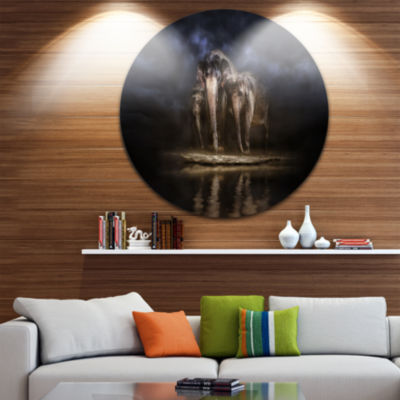 Design Art Elephants Watering in the River AnimalRound Circle Metal Wall Art