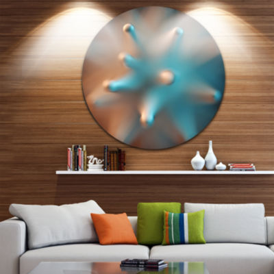 Design Art Blue Macro Prickly Texture Abstract Round Circle Metal Wall Art