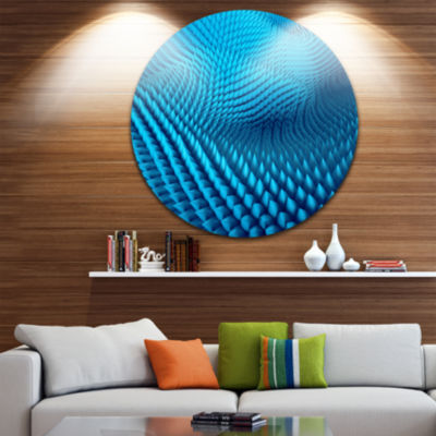 Design Art Abstract Blue Wavy Background AbstractRound Circle Metal Wall Art