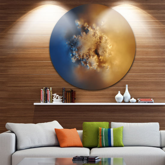 Design Art Small Macro Prickly Texture Brown Abstract Round Circle Metal Wall Art