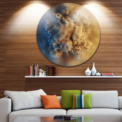 Design Art Large Macro Prickly Texture Brown Abstract Round Circle Metal Wall Art