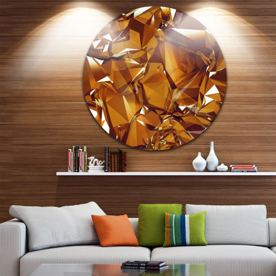 Design Art 3D Gold Crystal Background Abstract Round Circle Metal Wall Art