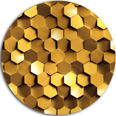 Design Art Golden Honeycomb Wall Texture AbstractRound Circle Metal Wall Art