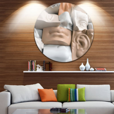 Design Art Abstract Mannequin Blocks Abstract Round Circle Metal Wall Art