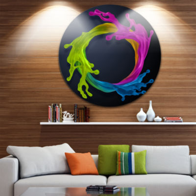 Design Art Colorful Splash Round Abstract Round Circle Metal Wall Art