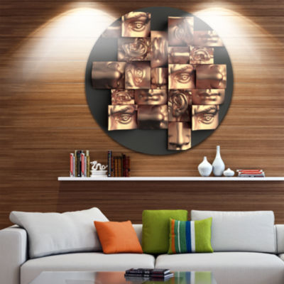 Design Art Golden Black Abstract Design Abstract Round Circle Metal Wall Art