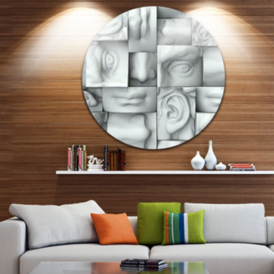 Design Art Abstract White Blocks Abstract Round Circle Metal Wall Art