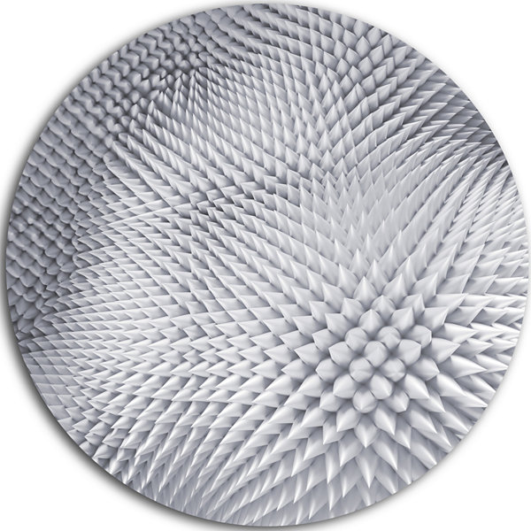 Design Art Small 3D White Prickly Design AbstractRound Circle Metal Wall Art