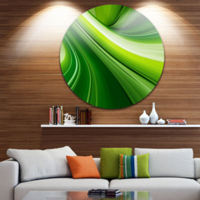 Design Art Abstract Green Lines Background Abstract Round Circle Metal Wall Art