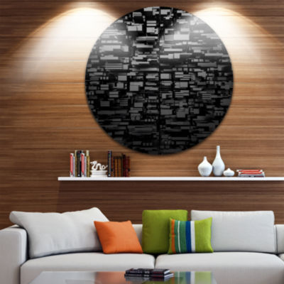 Design Art Black 3D Geometric Background AbstractRound Circle Metal Wall Art