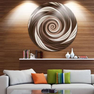 Design Art Chocolate and Milk Candy Spiral DesignAbstract Round Circle Metal Wall Art