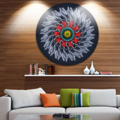 Design Art Abstract Silver 3D Flower Abstract Round Circle Metal Wall Art