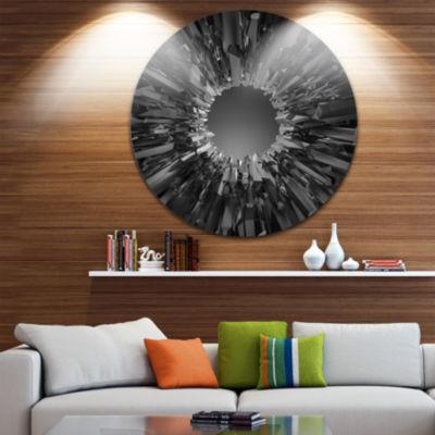 Design Art Futuristic Black Background Abstract Round Circle Metal Wall Art
