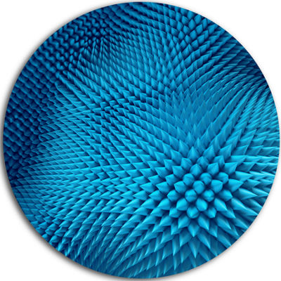 Design Art Wavy Blue Prickly Design Abstract RoundCircle Metal Wall Art