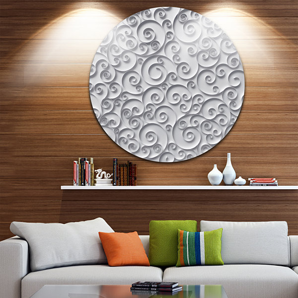 Design Art Curly Paper Quilling Ribbons Abstract Round Circle Metal Wall Art