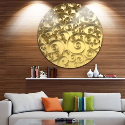 Design Art 3D Golden Curly Background Abstract Round Circle Metal Wall Art