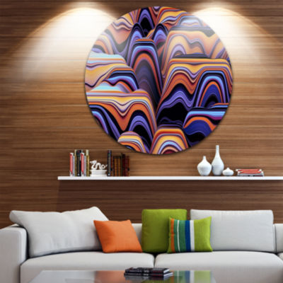 Design Art Abstract Mountains 3D Texture AbstractRound Circle Metal Wall Art