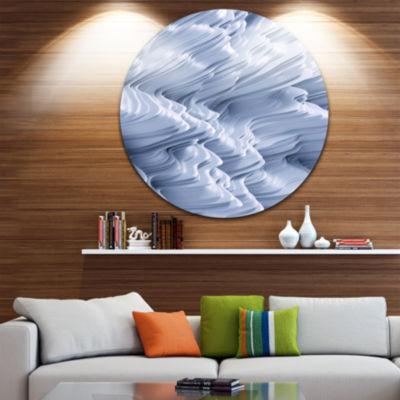 Design Art Snowy Hills 3D Texture Abstract Round Circle Metal Wall Art