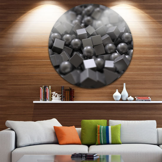 Design Art Balls and Cubes 3D Design Abstract Round Circle Metal Wall Art