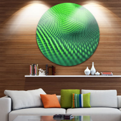 Design Art Green 3D Spiny Texture Abstract Round Circle Metal Wall Art
