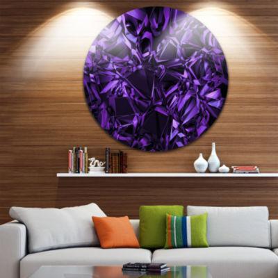 Design Art Purple Crystal Texture Design AbstractRound Circle Metal Wall Art